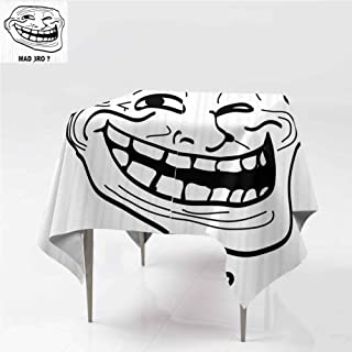 carmaxshome Christmas Tablecloth Napkins, Cartoon Style Troll Guy Great for Buffet Table Wrinkle and Water Resistant Spill-Proof Tablecloths Vibrant Waves for Outdoor Picnic, 60 x 60 Inch