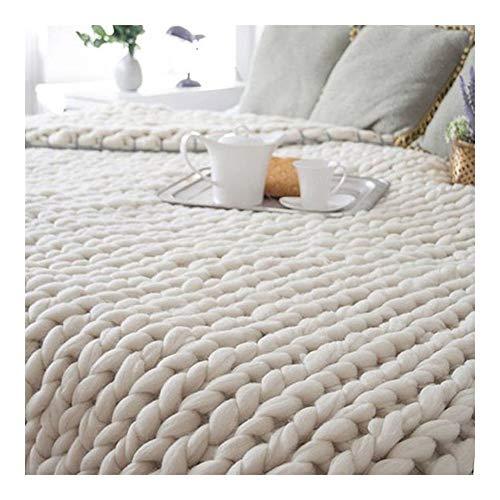 KEANCH Große Weiche Super Große Klobige Stricken Decke Grob Gestrickte Kuscheldecke, Strickdecke Wolle Garn Handgewebte Decke fürs Sofa- oder Tagesdecke (Color : B, Size : 60x80cm(24x31inch))