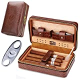 Time C club 4 Finger Portable Travel Crocodile Skin-Style Burgundy Leather Cigar Case, Cigar Humidor , Cigar Cutter and Humidifier,Father's Day ,Birthday Gift