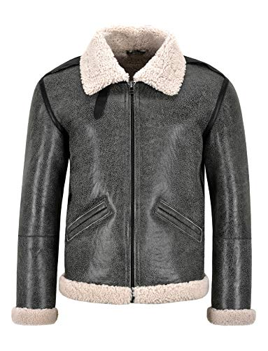 Smart Range Leather Herren B-6 Shearling Bomberjacke Grau Flying Aviator Schaffell B-6 Pilotjacke (XS)