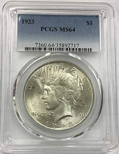 1923 Peace Dollar $1.00 MS64 PCGS