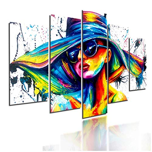 Pintura de pared de moda multicolor de mujer con gafas de sol y sombrero Decoración del hogar Póster de impresión en lienzo 40x60 40x80 40x100cm-Sin marco