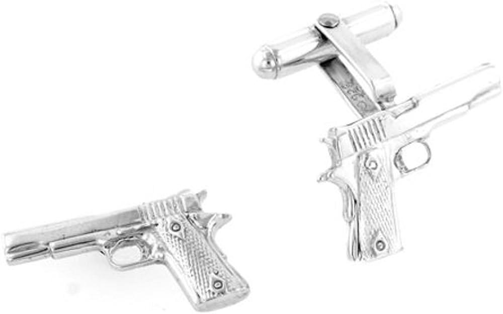 JJ Cheap sale Weston Sterling Silver 3 or Pistol Cuffli Handgun Dimensional Under blast sales