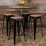 BizChair 30' High Metal Indoor Bar Stool with Wood Seat in Black - Stackable Set of 4