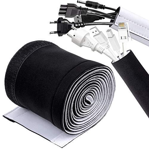 Kabelschlauch, QTTO 300cm Neopren Kabelkanal Kabelmanagement System, Kabelschutz mit Praktischem Klettkabelbinder, Kabel Versteckten Draht Verstellbarer Kabelschlauch Weiß/Schwarz