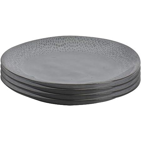 ProCook Malmo - Vaisselle de Table en Grès - 4 Pièces - Grande Assiette Plate - 28cm - Motif Goutte D'Eau - Glaçure Réactive - Gris Anthracite
