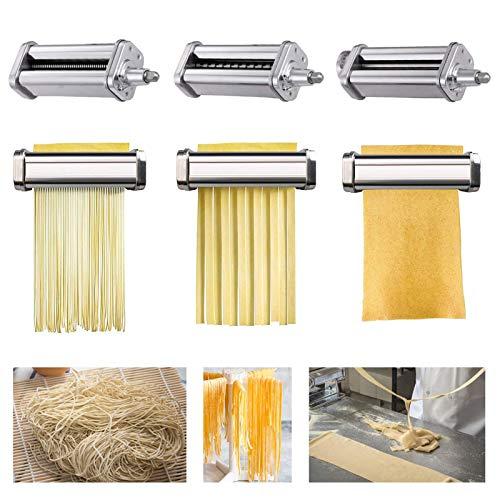 Pasta-Roller&Cutter Aufsatz, Nudelroller & Schneide-Aufsatz 3-in-1 Nudelaufsatz Set, Edelstahl, für Alle KitchenAid Dreiteiliger Nudelvorsatz Küchenmaschine,Spaghettischneider, Fettuccine Cutter