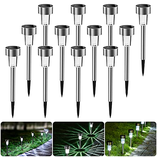 Lámpara solar LED para jardín, de acero inoxidable, 12 unidades, resistente al agua, de bajo consumo, ideal para exteriores, terraza, césped, jardín, patios traseros y caminos(Blanco)
