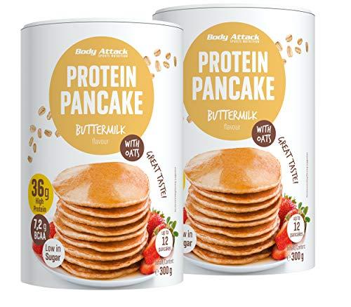 Body Attack Protein Pancake Mix, Eiweißpulver für Pfannkuchen mit 35% Protein, schnell und leicht abnehmen mit der Low Sugar Backmischung (Buttermilch mit Haferflocken, 2 x 300g)