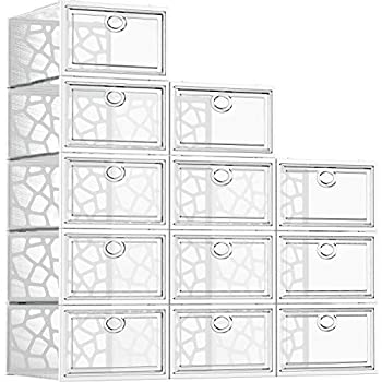 Pinkpum Shoe Boxes Clear Plastic Stackable 12 Pack Shoe Storage Box Organizer for Closets Foldable Sneaker Storage Fit for Size 11