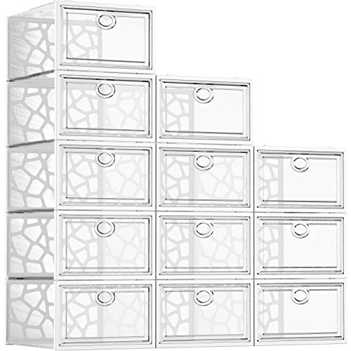Shoe Boxes Clear Plastic Stackable, 12 Pack Shoe Storage Box Organizer for Closets, Foldable Sneaker Storage Fit for Size 11