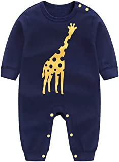 KOROTUS COLLECTION Baby Unisex Romper Jumpsuit, 100% Organic Cotton One-Piece Coverall Toddler Clothes, Giraffe