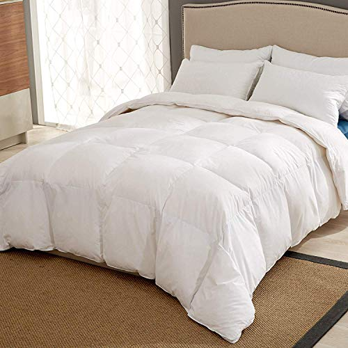 puredown® Edredón de Plumas para 4 Estaciones Edredones Blancos, Cubierta de Algodón 100%, Cama 180 (260x220cm)