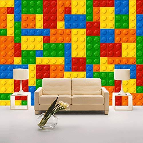 Benutzerdefinierte Fototapete 3D Lego Bricks Kinderzimmer Schlafzimmer Toy Store Hintergrunddekoration Babyzimmer Vlies Wandbild Tapete, 300cm×210cm