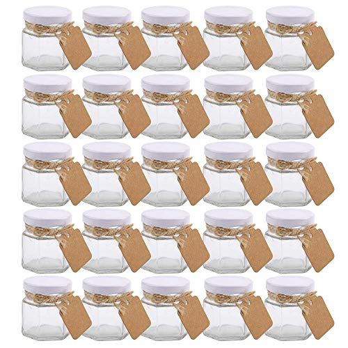 Small Mason Jars,Woaiwo-q 1.5oz Small Glass Jars Mini Honey Jars Clear Hexagon Jars with Lids(White,25Pack)