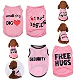 Yikeyo 4 Pack Dog Clothes for Small Dogs Girl Yorkie Chiuahaha Pug Cute Puppy Clothes Shirt Pet Clothing Doggy Female Apparel (Small, 4PC/ Love + Issues+ Security + hugs)