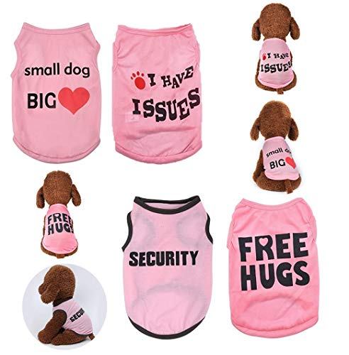 Yikeyo 4 Pack Dog Clothes for Small Dogs Girl Yorkie Chiuahaha Pug Cute Puppy Clothes Shirt Pet Clothing Doggy Female Apparel (Medium, 4PC/ Love + Issues+ Security + hugs)