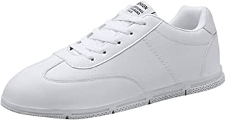 Lailailaily Men's Solid Color Lace-Up Sneakers Vulcanized Bottom Wear-Resistant Casual Shoes