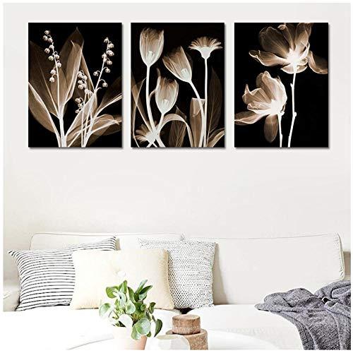 MULMF muurkunst canvas schilderij abstract witte bloemen schilderij op doek wooncultuur wandafbeeldingen voor woonkamer muurschilderij - 50X70Cmx3 / niet ingelijst