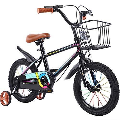 TOOSD Bicicleta para Niños De Color De 12-18 Pulgadas con Canasta Y Ruedas De Entrenamiento para Niñas Y Niños De 2 A 7 Años, Bicicleta De Entrenamiento para Niños,A,14