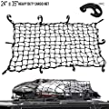 LATIT Cargo Net, Elastic Bungee Cord Luggage Cargo Net,Stretches Mesh Net with 6 Adjustable-Placement ABS Hooks for Truck/Motorcycle/Bike/SUV/ATV
