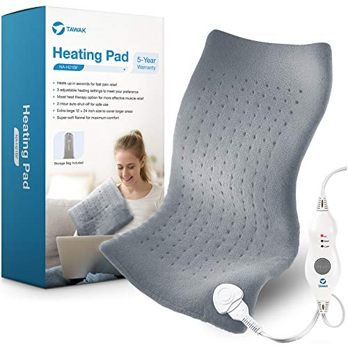 Heating Pad TAWAK Electric Fast Heating Pad for Body Pain Relief DryampMoist Heat Therapy Option Heating Pad with Adjustable Temperature Setting and 2 Hours AutoOff Large Size Soft Heating Pad