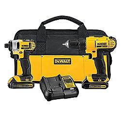 commercial DEWALT 20V MAX Cordless Drill Combination Set, 2 Tools (DCK240C2) power tool set