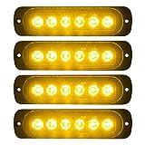 VKGAT 4pcs Sync Feature 6LED Car Truck Emergency Beacon Warning Hazard Flash Strobe Light Surface Mount (Amber/Amber)