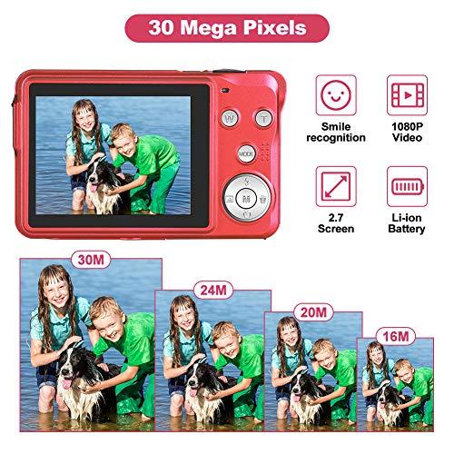 LINNSE Digitalkamera, Kompaktkamera 30MP 2,7-Zoll- mit 8X Digitalzoom Fotoapparat Digitalkamera mit 32 GB SD-Karte und 2 Batterien (Rot)