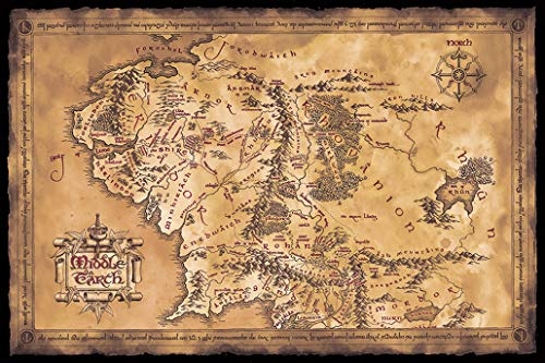 """Price comparison product image POSTER STOP ONLINE The Hobbit / The Lord of the Rings - Movie Poster / Print (Map of Middle Earth - Limited Dark / Sepia Edition) (Size 36"""" x 24"""") (Unframed)"""