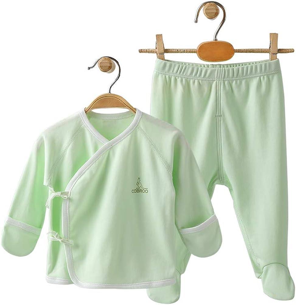 COBROO 100% Cotton 2-Piece Baby Pajamas Set, Long Sleeve Kimono Shirt and Essential Footed Pants Newborn-6 Months