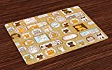 ABAKUHAUS Chat Lot de Sets de Table en 4 pièces, Arbre généalogique de Kitty Humour, Tissu Lavable pour Salle à Manger et Cuisine, 30 cm x 45 cm, Multicolore