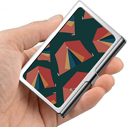 Hermosa tienda de herramientas para el hogar móvil, carpa, caja de tarjeta de visita personalizada, caja de metal, tarjetero, metal profesional, 3.81x 2.7 x 0.29 pulgadas, caja de tarjeta de negocio