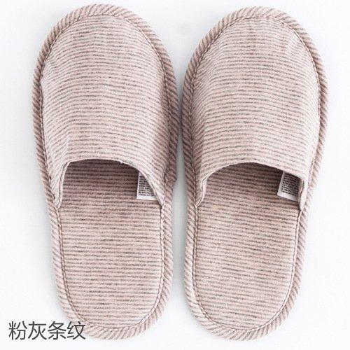 CWJDTXD Zapatillas de verano Pantuflas portables portátiles, zapatillas de viaje, hotel, zapatillas plegables ligeras, mute de algodón, (una talla 36-42), rayas rosas y grises: Amazon.es: Hogar