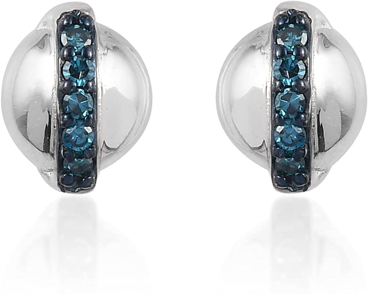 Our shop OFFers the Virginia Beach Mall best service Shop LC Gorgeous Solitaire Stud Earrings Sapphire Diffused Blue