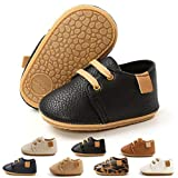 Baby Boys Girls Leather Sneakers Rubber Anti-Slip Sole Oxford Loafers Toddler Shoes Infant Walking Moccasins (12-18 Months M US Toddler,A-Black)