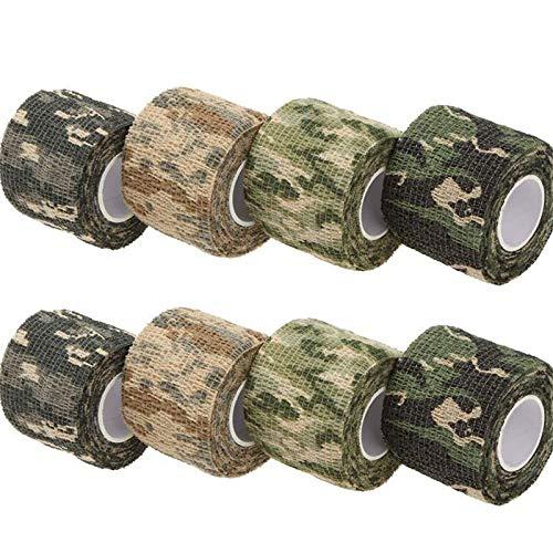 XunHe Cinta de camuflaje multifuncional Stealth Camo Tape de tela autoadhesiva de fieltro para linterna, telescopio, bicicleta (8 rollos)
