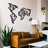 ODUN ARTS - Mapamundi - Cuadros Decorativos de Madera - Decoración de Pared - 87 cm Alto X 144 cm Ancho X 1 cm de Espesor - Negro