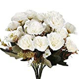 XHXSTORE 4pcs Flores Artificiales Claveles de Seda Ramo de Flores Artificiales Blanca 5 Ramas con 11...