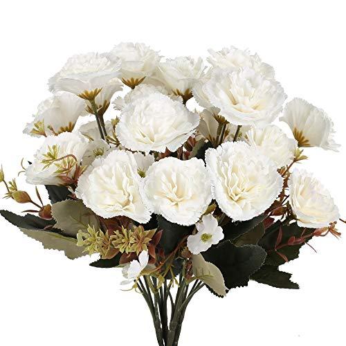 XHXSTORE 4pcs Flores Artificiales Claveles de Seda Ramo de Flores Artificiales Blanca 5 Ramas con 11 Flores para Decoración Boda Jarrones Hogar Centro de Mesa Hiver