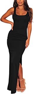Meenew Women's Sexy Low Cut Side Shirring Bodycon High Slit Long Dress