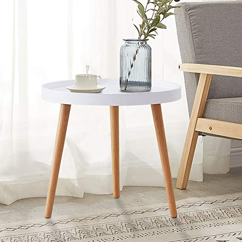 TUKAILAI White Round Coffee Table Dia 50x45cm Side Lamp End Table with Wood Legs Small White Table for Living Room