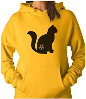 Tstars - Halloween Cat Pentagram Cat Lover Gift Women Hoodie
