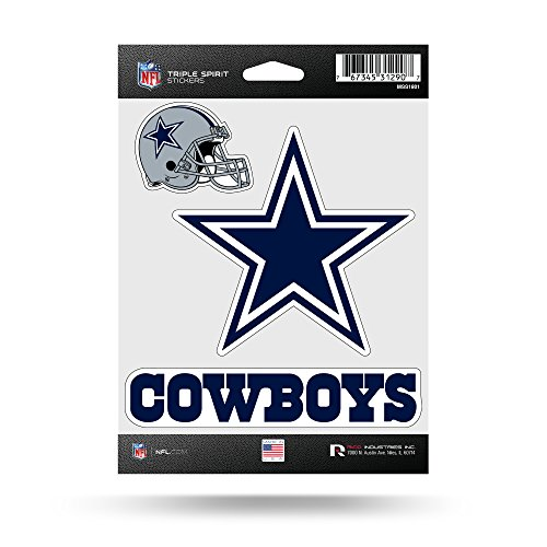 NFL Rico Industries Die Cut 3-Piece Triple Spirit Sticker Sheet, Dallas Cowboys