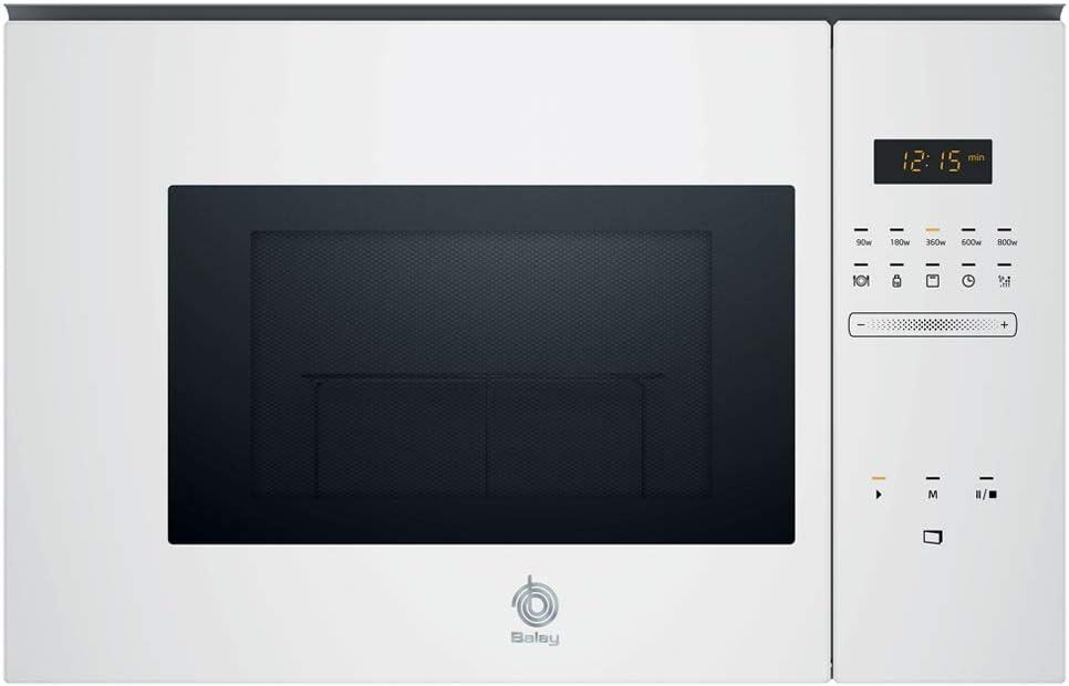 Balay, 3CG5172B0 - Microondas integrable Serie Cristal, 20L, 800W, Grill 1000W, Control táctil, Color blanco