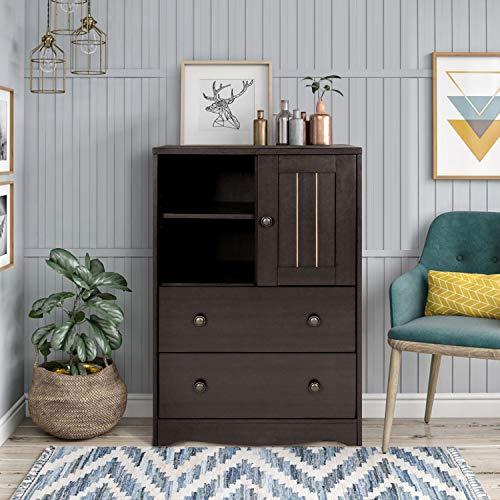 FurnitureR Gabinete de piso de almacenamiento, gabinete independiente con 2 estantes pequeños en…