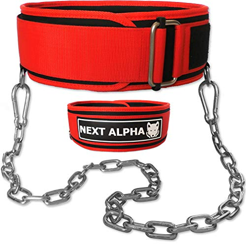 Next Alpha Gewichthebergürtel & Dip Gürtel-Kombination - Custom Weight Lifting Belt für Herren und Damen - Selbstverschluss- & Schnellverschlussschnalle - Mit Kette - Rot - Large