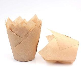 senza stampi necessari FiveSeasonStuff Confezione da 60 astucci per muffin beige//Tazze di carta da forno standard Involucri con elegante bordo piegato