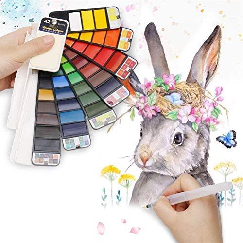 Crazy Ling Conjunto de Pintura de Pigmento de Acuarela sólida Whirl portátil con Pincel de Agua de Color Brillante, para Suministros de Arte del Artista Estudiantes Dibujar Pintura Regalo (18 Color)