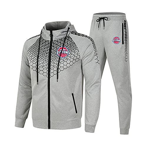 EFXCHSY Conjunto de chándal para hombre y mujer Traje de jogging Pistons Suéter con capucha a rayas de 2 piezas + Pantalones traje deportivo Largo/Gray/XL